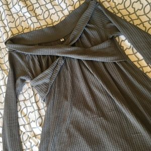 Off shoulder grey tunic dress